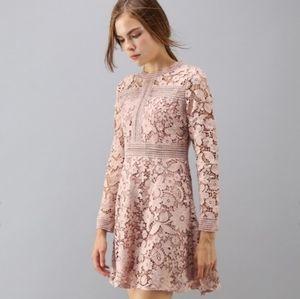 Blush pink floral crochet dress